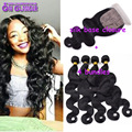 Best Quality Malaysian Virgin Bundles With Closure Silk Base Closure With Bundles Malaysian Body Wave 4 pcs With Lace Closure