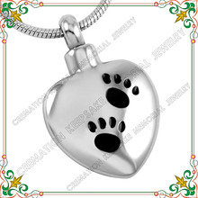 CMJ8369 Stainless steel cremation jewelry waterproof heart urn memorial ashes necklace paw print pet jewelry
