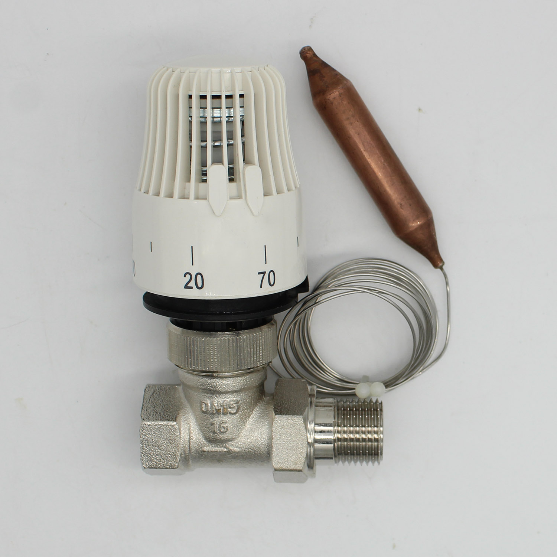 Energy saving 30-70 degree control Floor heating system thermostatic radiator valve M30*1.5 Remote controlle 2way Straight valve