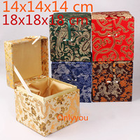 Luxury Square Large Wooden Jewelry Box Hardware Vintage Cube Storage Box Decorative Chinese Silk Fabric Collection Box
