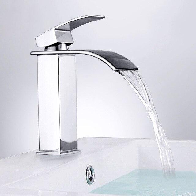 Bathroom Basin Chrome Faucet Waterfall Spout Single Handle Sink Bath Mixer Tap