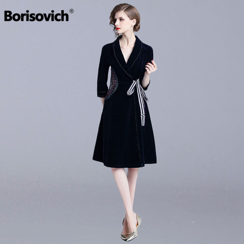 Borisovich Women Long Trench Coat New Brand 2018 Autumn Fashion England Style Vintage V neck Elegant
