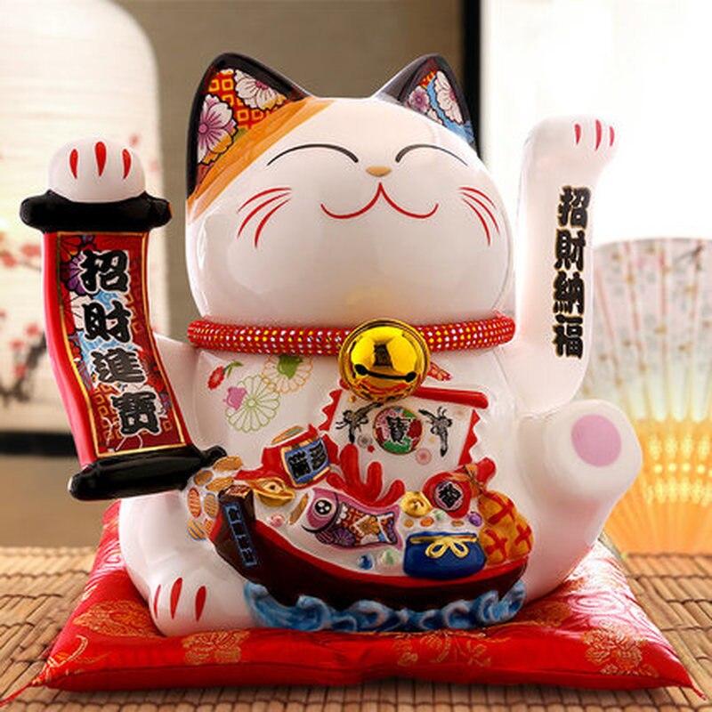 Vente chaude plus récent Jimaotang surdimensionné chat chanceux boutique de cadeaux ouvert ornements créative maison céramique économiser tirelire