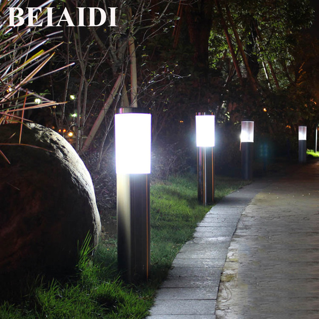 BEIAIDI 45/60CM Outdoor Stand Pole Column LED Lawn Light Waterproof Garden  Pillar Lawn Lamp