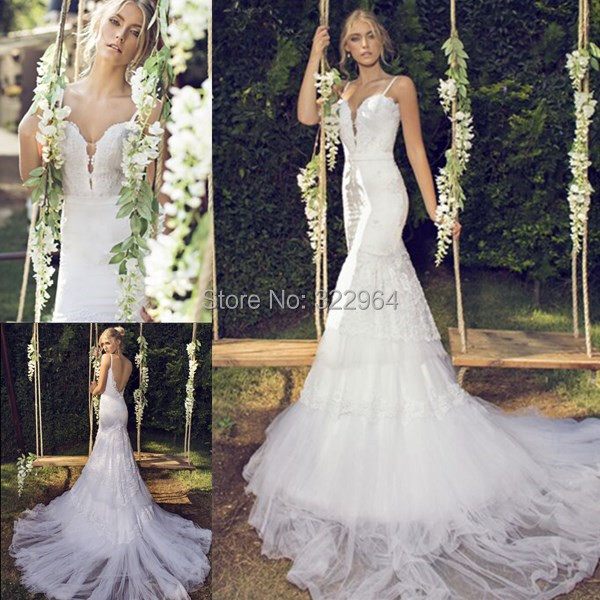 Lebanon Wedding Dress 2015 Spaghetti Straps Svadobne Saty Brazilian