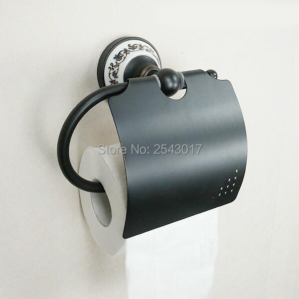 Antique Black Copper Brass Paper Holder Bathroom Hardware Wall Mounted Porcelain Waterproof Toilet Roll Tissue Holder ZR2321