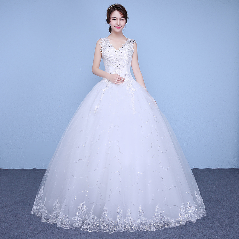 c876f595c35ea3e Бесплатная доставка блёстки кружева v-образным вырезом недорогие свадебные платья  длиной до пола белые платья невесты изготовление на зака.