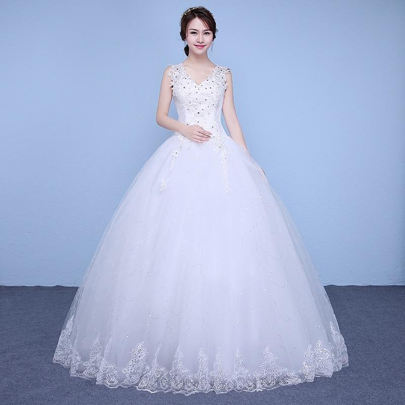 Free Shipping Sequins Lace V-neck Wedding Dresses Cheap Floor Length White Bride Gowns Custom Made Vestidos De Novia XN177