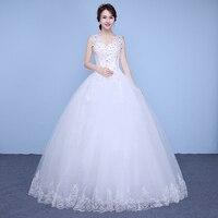 Free Shipping Sequins Lace V neck Wedding Dresses Cheap Floor Length White Bride Gowns Custom Made Vestidos De Novia XN177