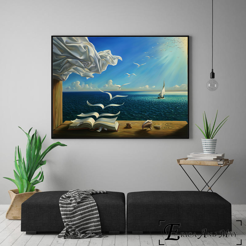 Surreal City Chess Beach Set Wall Art Canvas Painting Poster Prints Pictures For Living Room Decoration Home Oil Paintings Decor 4