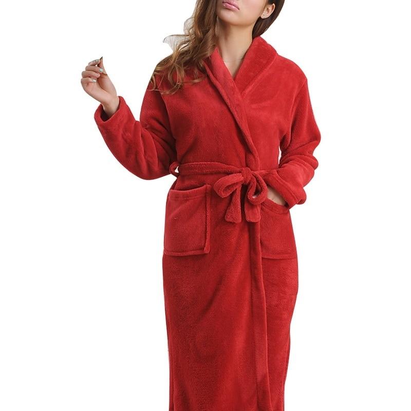 Image 4 - LITTHING Lovers Dress Men Women's Warm Super Soft Flannel Coral Fleece Long Bath Robe Men Kimono Bathrobe Dressing Gown Robes-in Robes from Underwear & Sleepwears on AliExpress