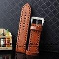Brown Venda de Reloj de Ancho Tamaño 24mm Durable Correa de La Venda de Reloj de Cuero para hombres de Acero Inoxidable Hebilla De Plata