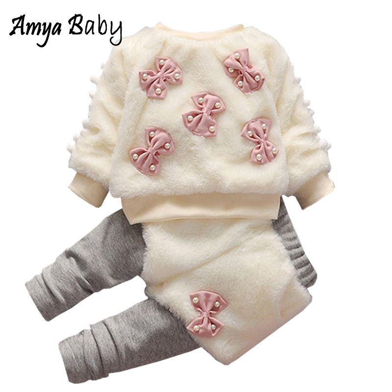 AmyaBaby Baby Girl Outfit 2018 Newborn Girl Bow Fur Tops+Pants Clothes Sets Thick Warm Baby Girl Christmas Clothes Winter Outfit baby girl clothes baby winter suit spring and autumn warm baby boy clothes newborn fashion cotton clothes two sets of underwear