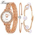 Xinge Watch Women Luxury Gemstone Crystal Jewelry Pearls Bracelet Watch Women Dress Clock Ladies Casual Quartz Wristwatch