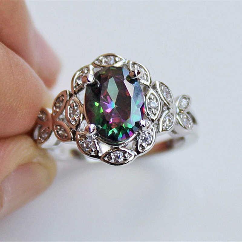 ZHOUYANG кольца для женщин цветные овальные циркониевые креативные градиентные