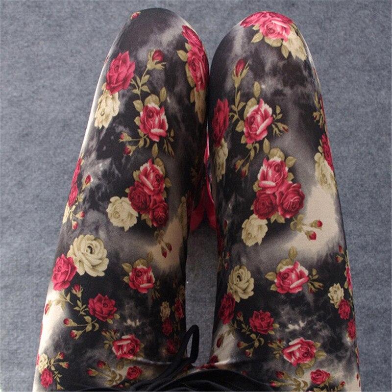 Elastic Stretch Soft Fitness Leggings Women New Fashion One Size Polyester Mid Waist Flowers Print Leisure Leggings Female