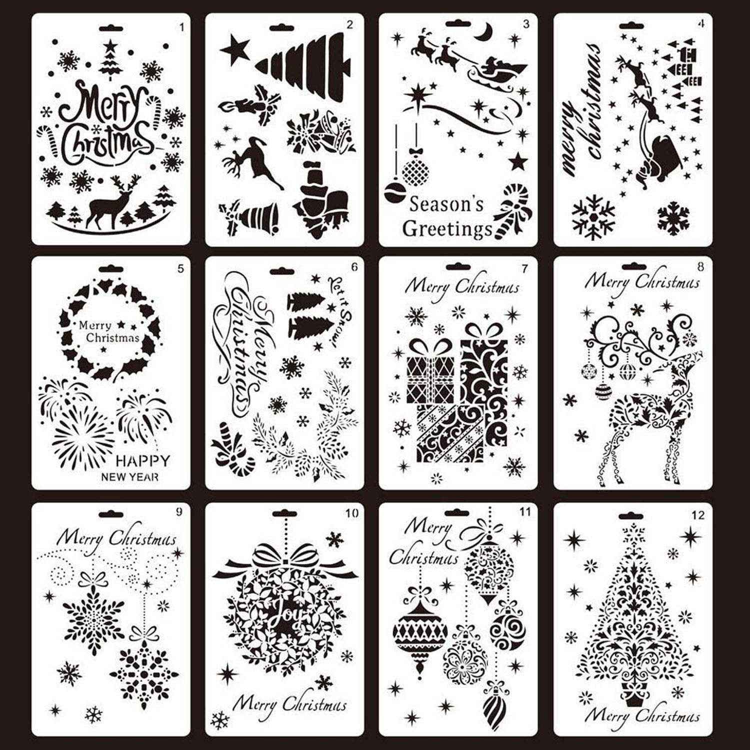 12PCS Assorted Style Merry Christmas Painting Drawing Stencils Templates for Pigment School Project Scrapbooking DIY Craft Album