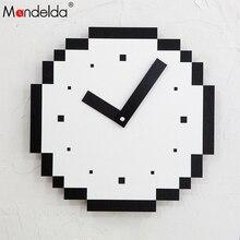 Mandelda Wall Clock Relogio De Parede Modern Acrylic Digital  Wooden Design Pendule Murale Decorative