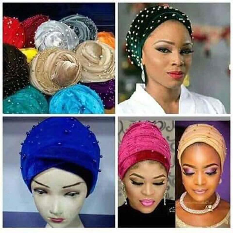 New luxury beaded pearled velvet turban long head scarf headwrap women muslim hijab Bandanas Hair Accessories 10