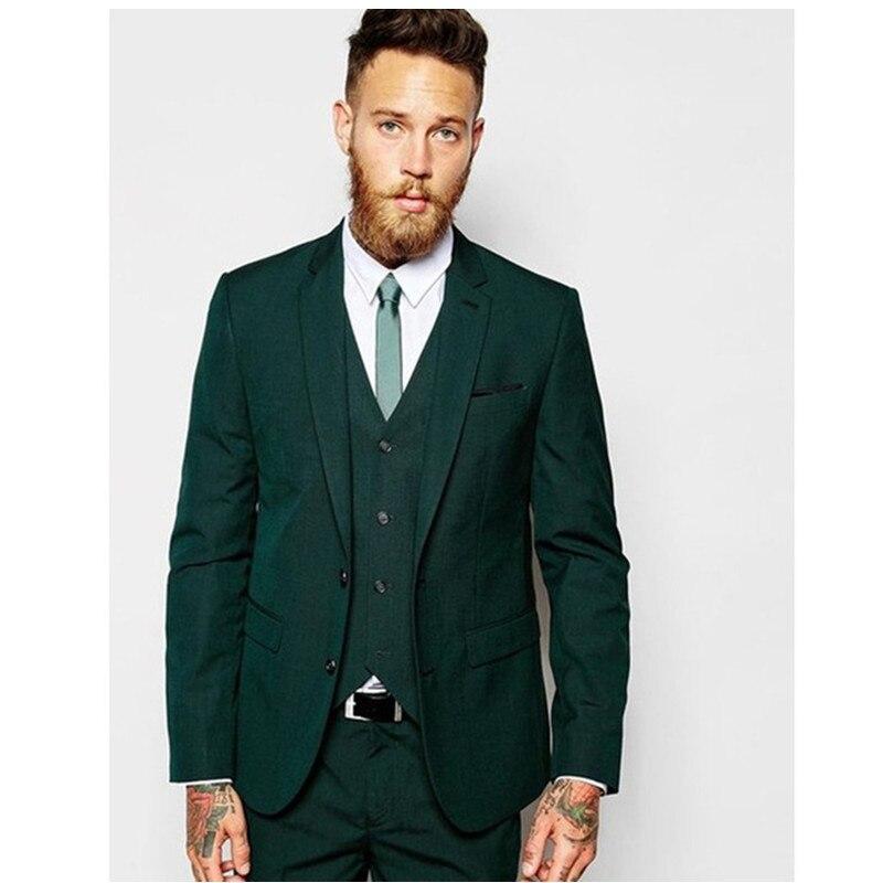 Customized Groomsmen Groom Tuxedos Dark Green Men Suits 2019 Wedding Best Man Blazers Smart Casual Men Suit (Jacket+Pants+Vest)