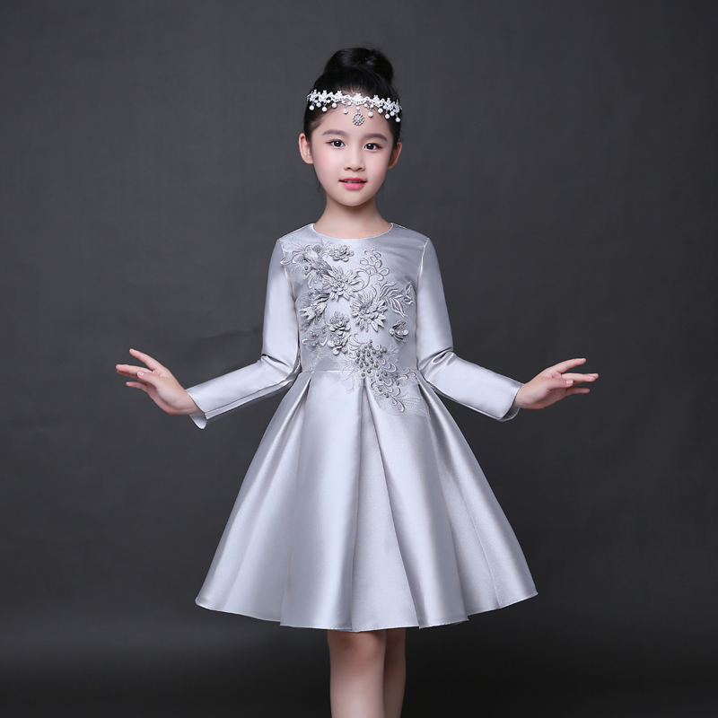 Gown For Flower Girl Wedding: Trendy Long Sleeves Flower Girl Dress Children Silver