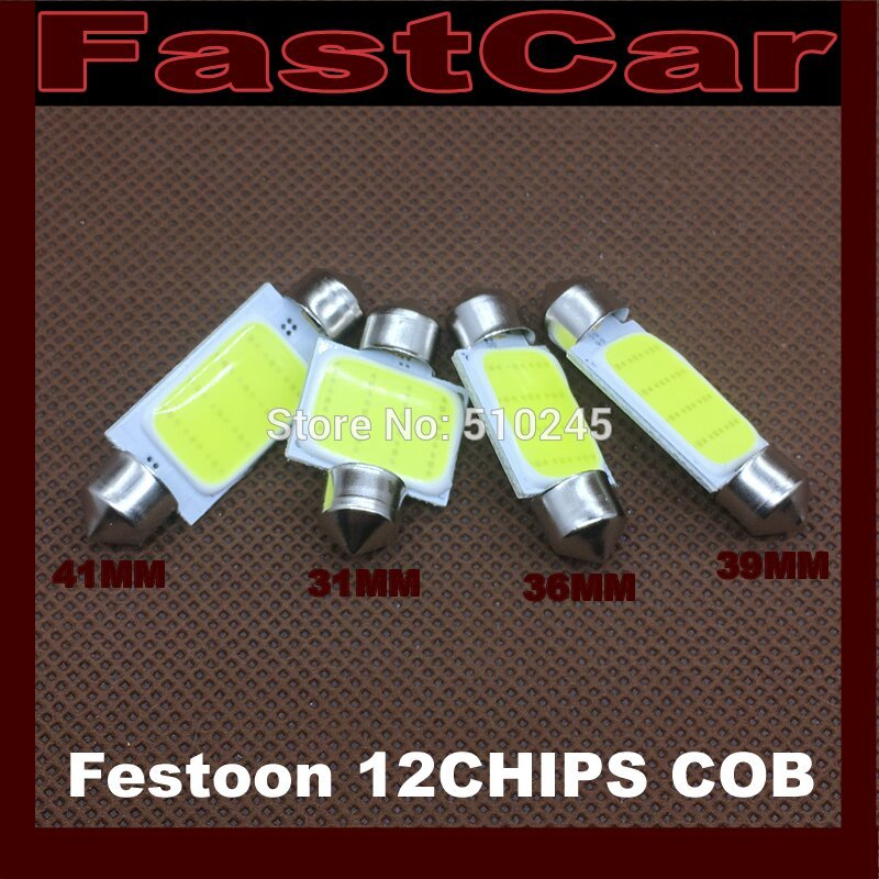 100X 12V white car led C5W 31MM 36MM 41MM festoon 39MM 1 LED COB 12 Chips Lights Map lamp bulb free shipping