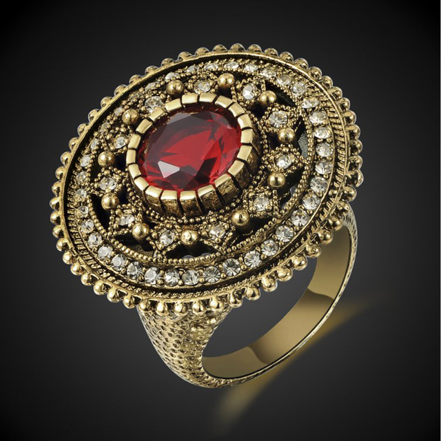 Faustine-Vintage-Gold-Plated-Red-Cubic-Zirconia-Ring