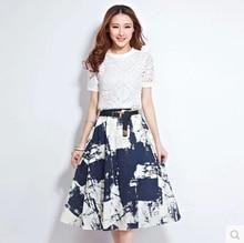 Vestido Brand New 2015 Summer New Dress Set Skirt Sets Women Leisure Clothing Set Casual 2pcs Set T-shirt +Skirt Suits for Women