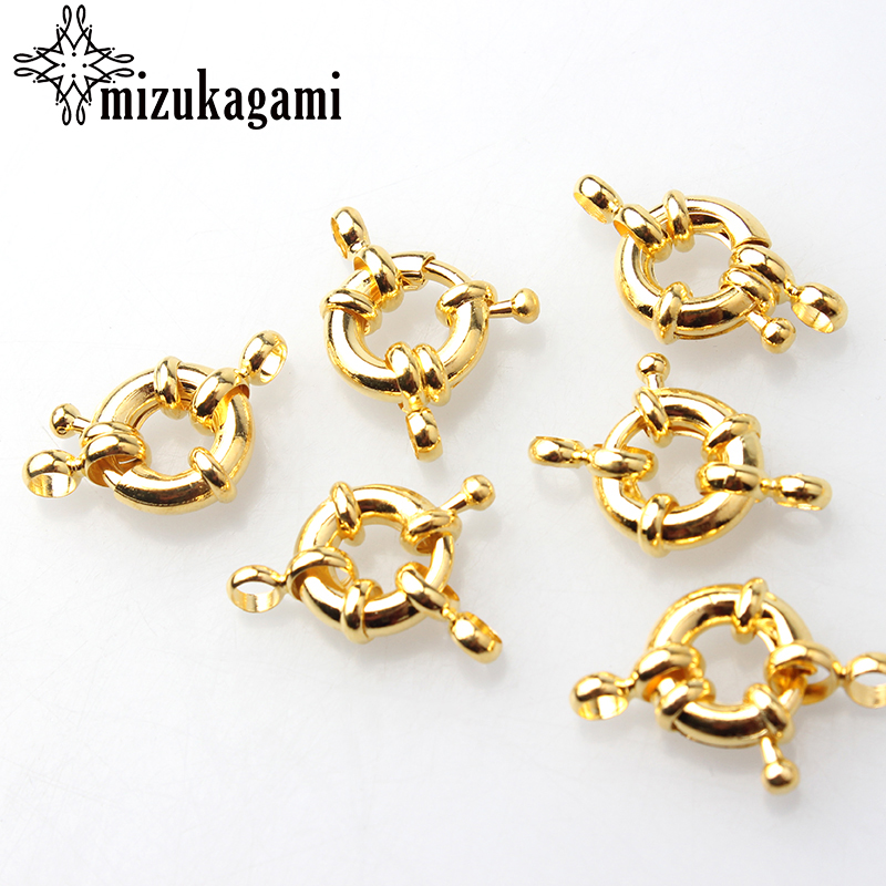 11mm13mm Gold Silver Round Clavicle Necklace Clasp 10PCS DIY Jewelry Ac