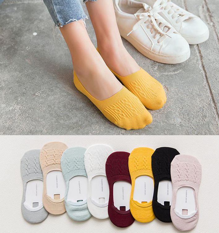 1Pair Women Casual Cotton Breathable Ankle Boat Socks Candy Color Invisible Non-slip Low Cut Socks Fashion