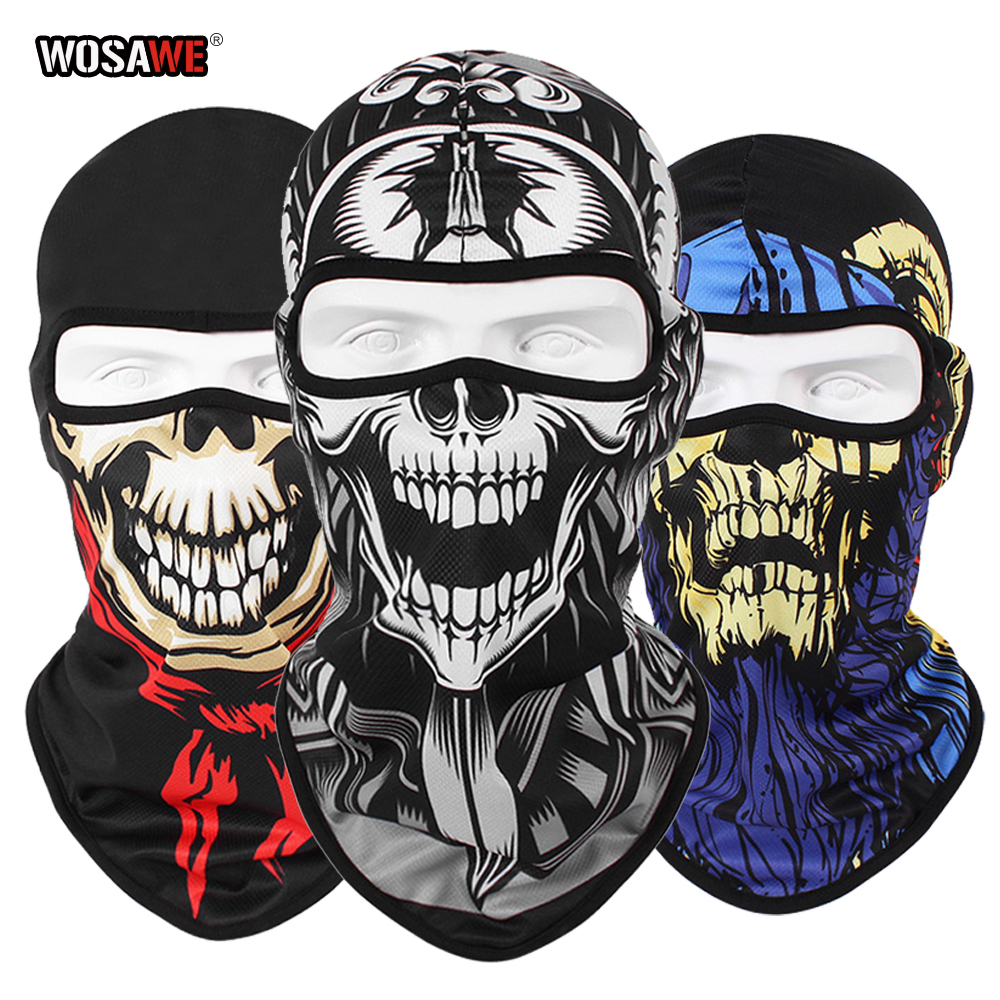 WOSAWE 3D Skull Motorcycle Balaclava Full Face Mask Warmer Shield Helmet Liner Ski Paintball Snowboard Biker Riding Shield Hood