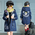2016 explosion paragraph girls thickened denim jacket autumn and winter children plus thick velvet cashmere thick coat