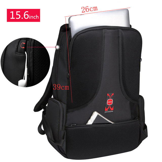 15.6inch 27L USB Charging Anti theft Waterproof Travel Men Backpacks Bags