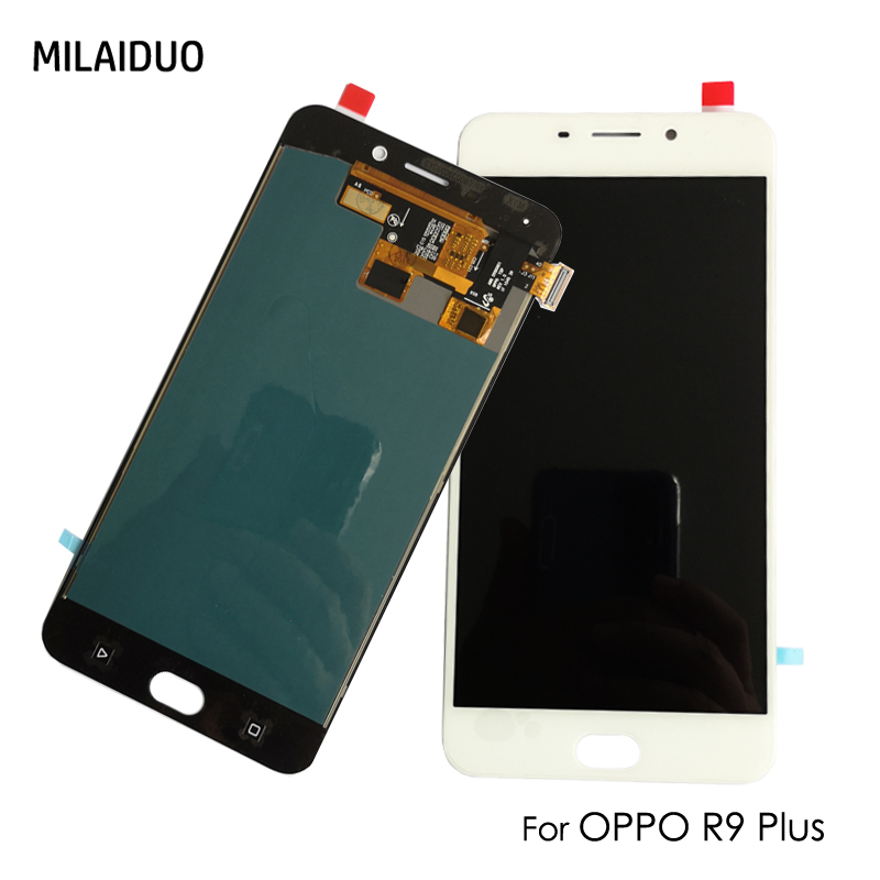 Premium Quality White LCD Screen and Digitizer Full Assembly for Oppo R9 Plus Color : White