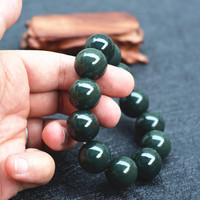 18mm 100 Natural Dark Green HETIAN Nephrite Buddha Beads Bracelets Round Beads Chinese Fortune Bangles Men