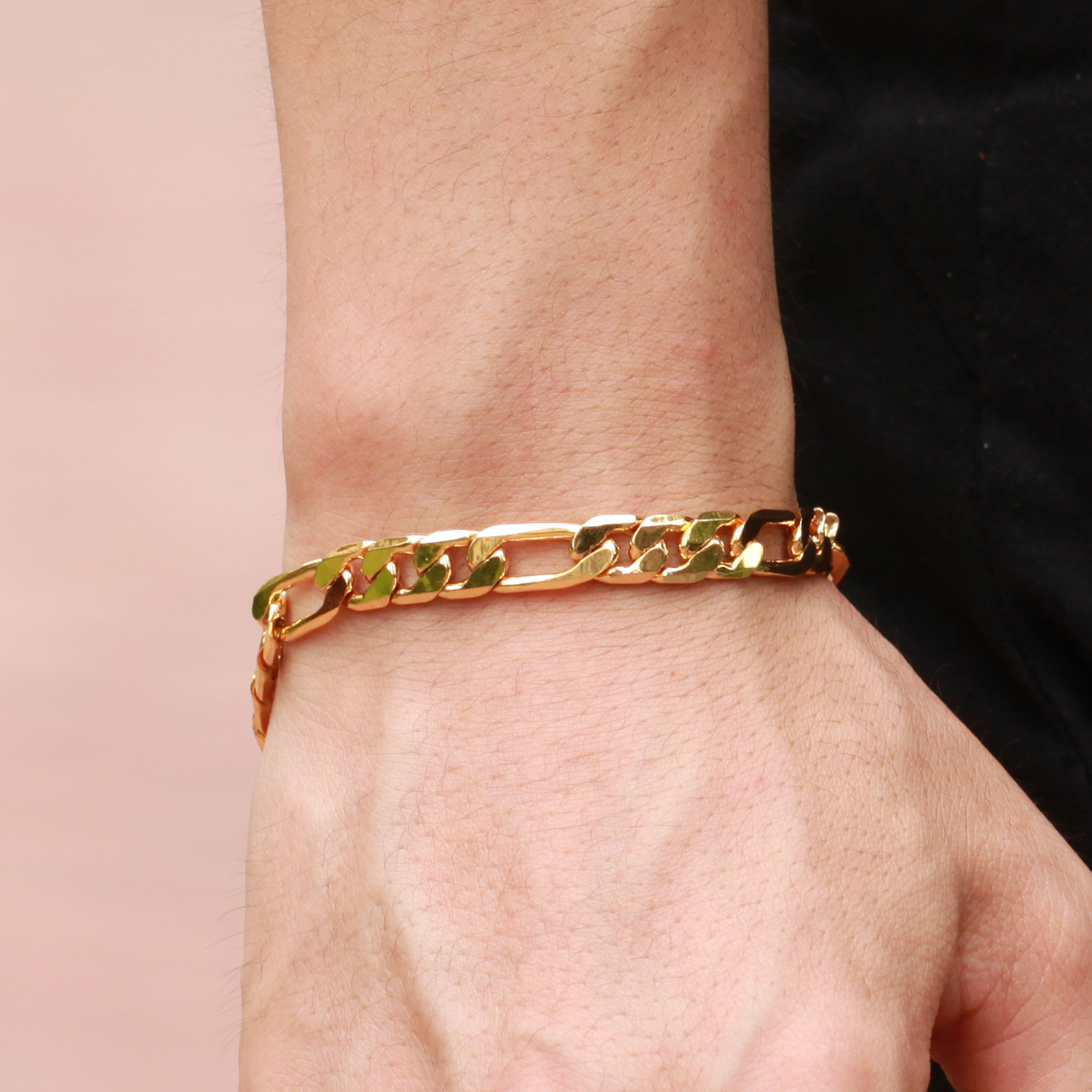 Fashion Men's Gold Curb Chain Bracelet Fine Jewelry Gift For Men @c81(china  (