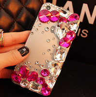 Pour iPhone X De Luxe Strass Diamant Bling Cas de Couverture de Téléphone Pour iPhone 4S 5S 6 6 S 6 Plus 7 8 Plus 3D Fleurs De Mode Retour couverture