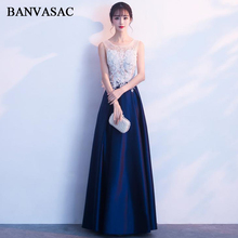 BANVASAC 2018 O Neck Crystal Illusion Back A Line Long Evening Dresses Elegant Party Lace Appliques Satin Prom Gowns