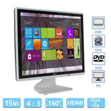 "EYOYO 15 ""HD LCD 1024*768 Монитор VGA BNC Аудио-Видео HDMI Для ПК ВИДЕОНАБЛЮДЕНИЯ Банковского Камеры"