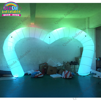 Heart shape inflatable led light archway 8m wedding decoration inflatable entrance arch