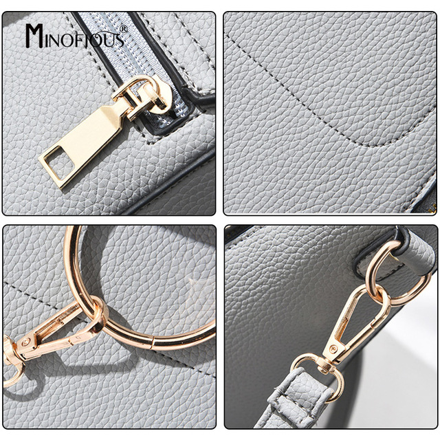 MINOFIOUS Multifunction Mini Backpack Women High Quality PU Leather Back Bag Fashion Casual School Bags Small Backpacks for Girl