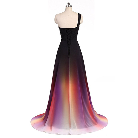 Hot Sale 2019 Long Evening Dresses One Shoulder Gradient Black Red Chiffon Prom Dress Cheap In Stock Real Photos Vestido Longo Lahore
