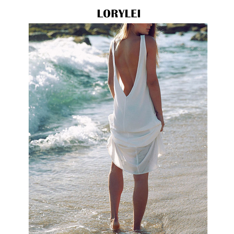 Detail Feedback Questions about Bohemian Solid White Chiffon Beach Dress  Sexy Sleeveless Open Back Greece Style Women Summer Beachwear Sarongs Robe  de plage ... 1f0781332a83