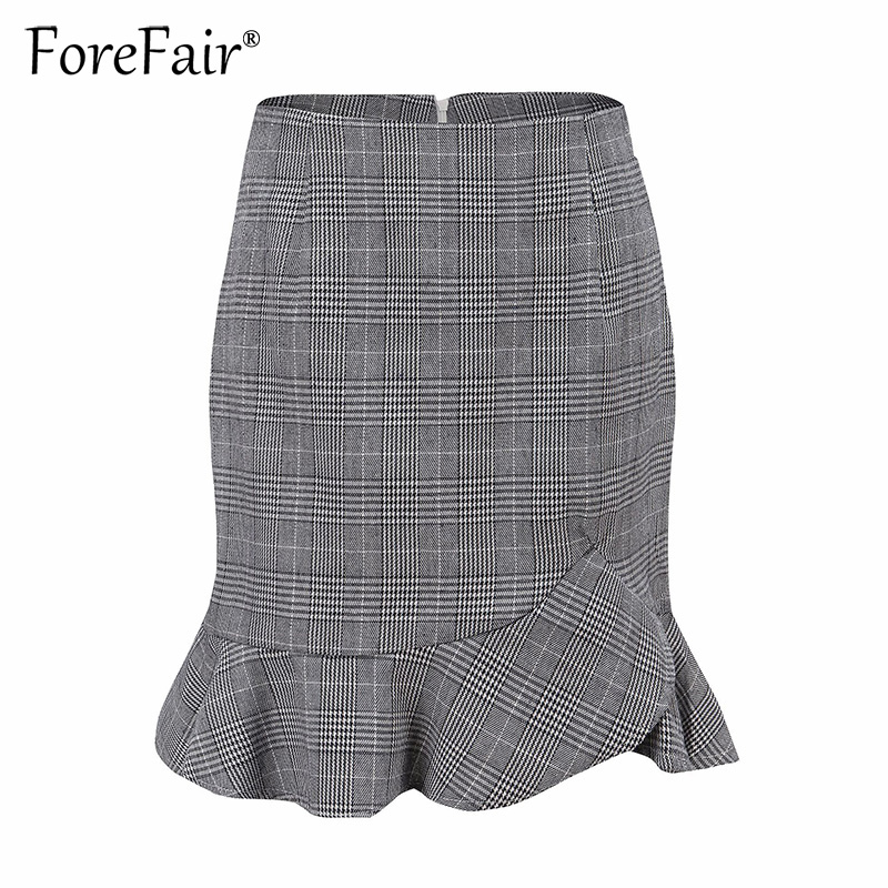 b589ddff176516 Forefair Women Ruffle Vintage Plaid Skirt Office Ladies Casual Short Skirt  2018 Summer Grey High Waist Bodycon Skirts-in Skirts from Women's Clothing  on ...
