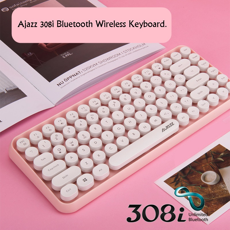 New  Ajazz 308i  Multi-Device Steam Punk Retro Round Keycap Universal Bluetooth Wireless Keyboard For Phone,Tablet ,Notebook