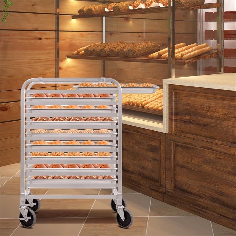 High Quality 10 Sheet Food Grade Aluminum Bakery Rack Rolling Commercial Cookie Bun Pan 4 Pcs Universal Wheels Bakery Tools