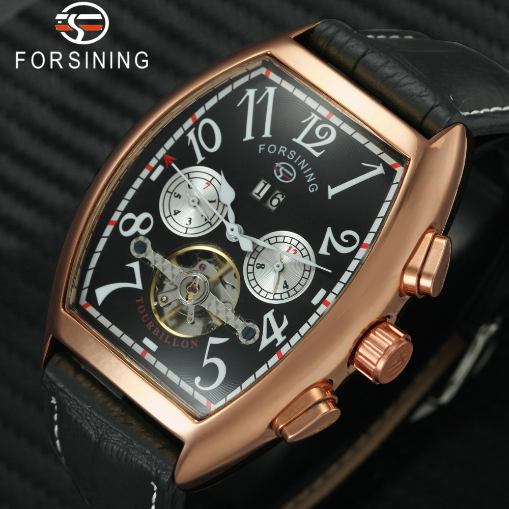 лучшая цена FORSINING Royal Multifunction Men Watches Tourbillon Sub-dials Display 2018 Top Brand Luxury Automatic Mechanical Wristwatches