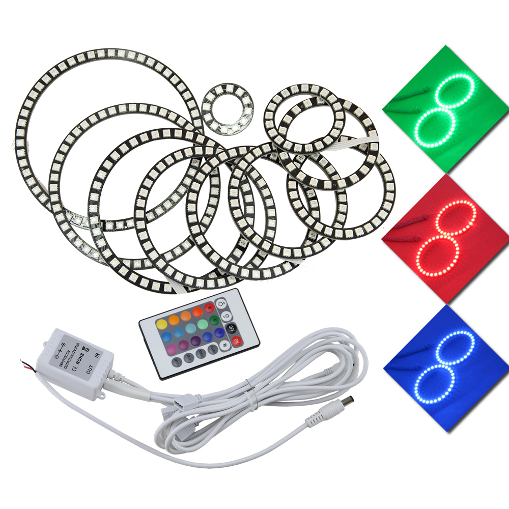 Latest new 5050 SMD Angel Eyes Multi-Color RGB LED DRL Remote Kit - 2PCS (60/70/80/85/90/94/<font><b>100</b></font>/106/<font><b>110</b></font>/115/120/126/140 MM) image