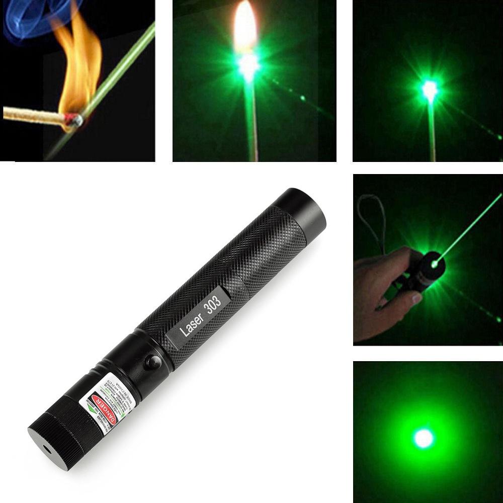 Kualitas Tinggi Promosi 303 Laser Pointer Daya Hijau Atau Green Pena Lazer Membakar Pertandingan Aman Kunci Dengan No 18650 Baterai Di