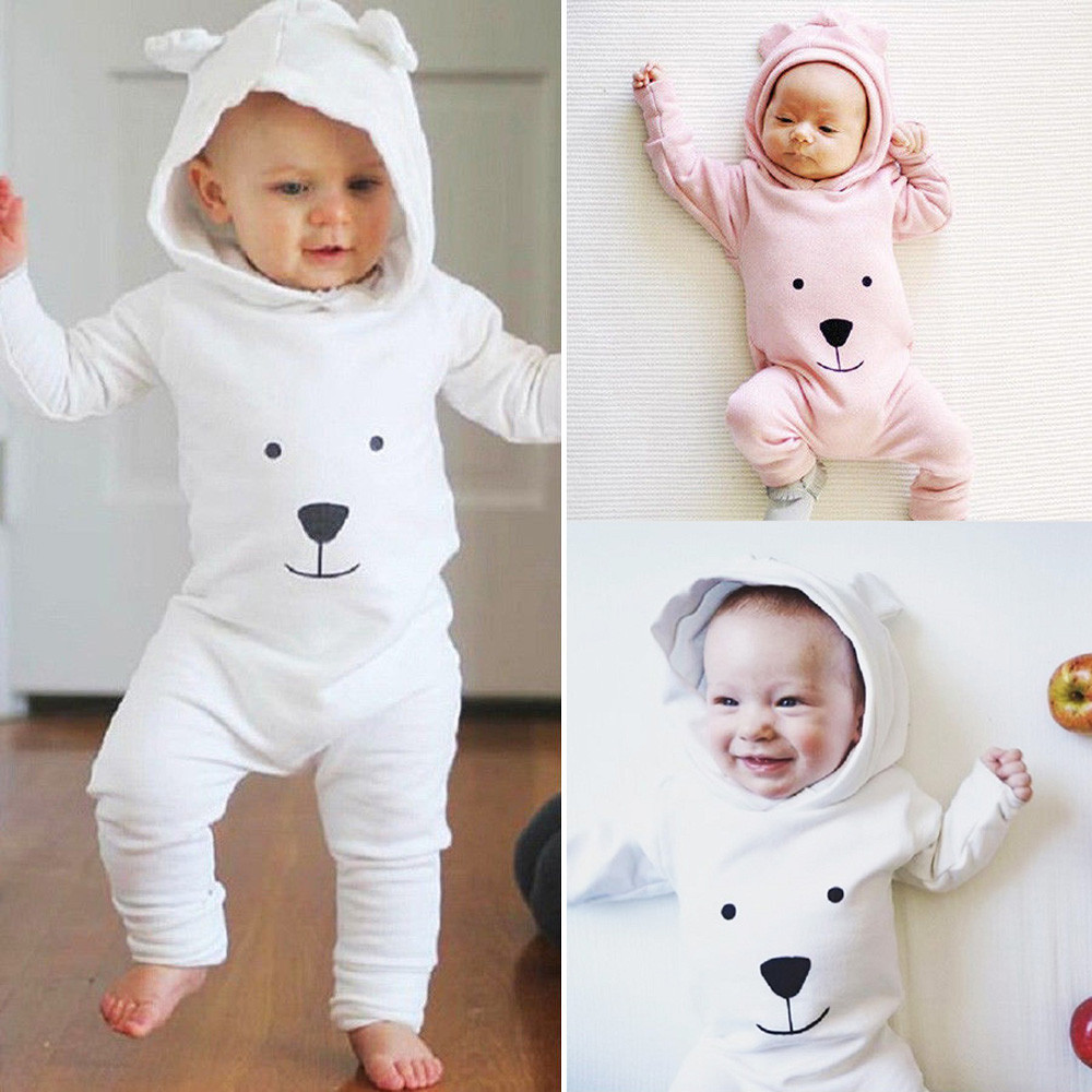 Newborn Infant Baby Boy Girl Hooded Cartoon   Romper   Jumpsuit Outfits Clothes baby girl boy clothes new born baby clothes